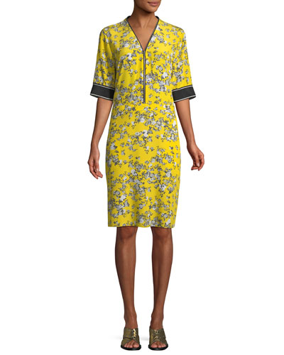 Cecile V-Neck Half-Sleeve Floral-Print Silk Dress