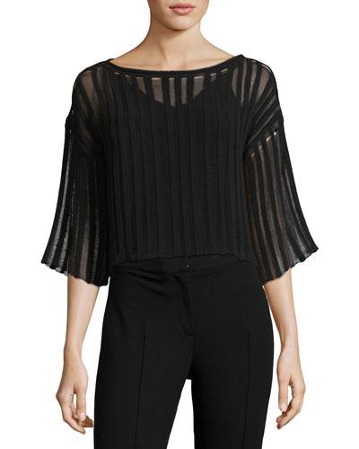 Illusion-Striped 3/4-Sleeve Sweater