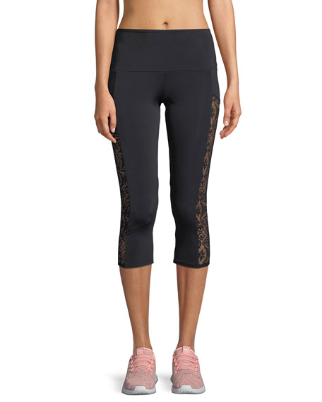 7ddf7e2b3e Onzie Stunner Capri Leggings with Lace Panels