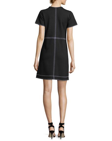 Short-Sleeve Mini Dress w/ Contrast Stitching