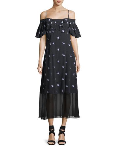 Swallow Off-Shoulder A-Line Dress