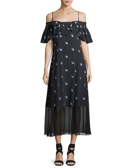 Mcq By Alexander Mcqueen  SWALLOW OFF-SHOULDER A-LINE DRESS