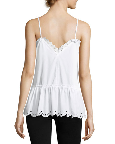 Eyelet Cami Top w/ Gathered Hem