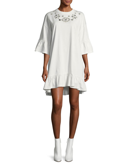 Mcq By Alexander Mcqueen  EMBELLISHED LOOSE RUFFLE DRESS
