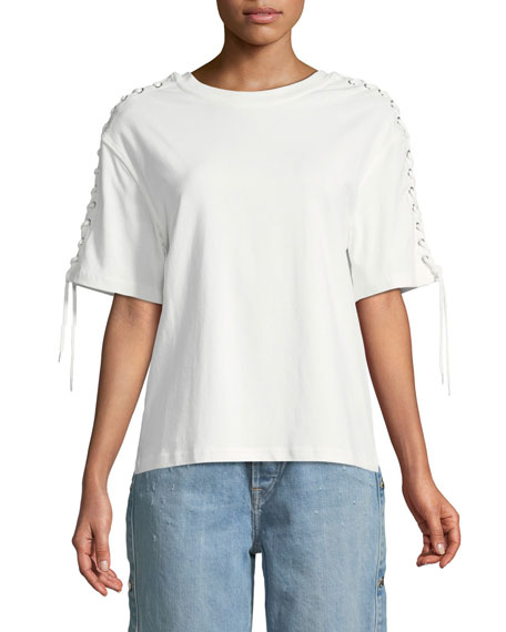 Lace-Up Elbow-Sleeve Crewneck Cotton Top