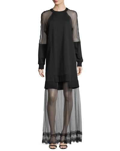 Hybrid Long-Sleeve Sheer Dress
