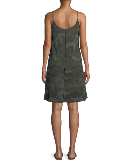 V-Neck Camo-Print Cotton Slip Dress