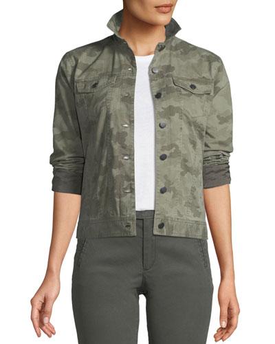 Button-Down Camo-Print Stretch-Cotton Denim Jacket