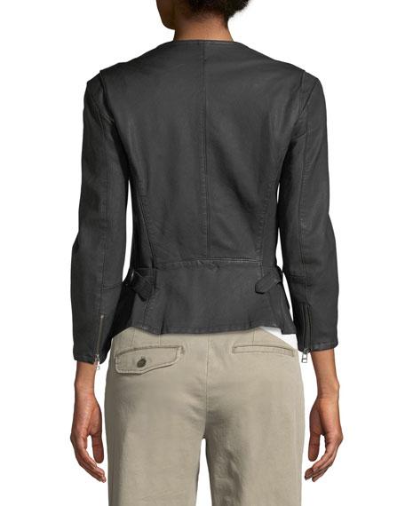 Collarless Leather Moto Jacket