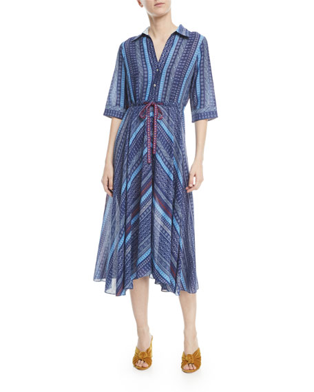 Lucy Striped Tie-Waist Shirtdress