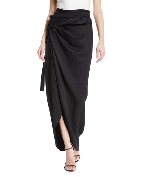 A.W.A.K.E. Shiny Wraparound Skirt, Black
