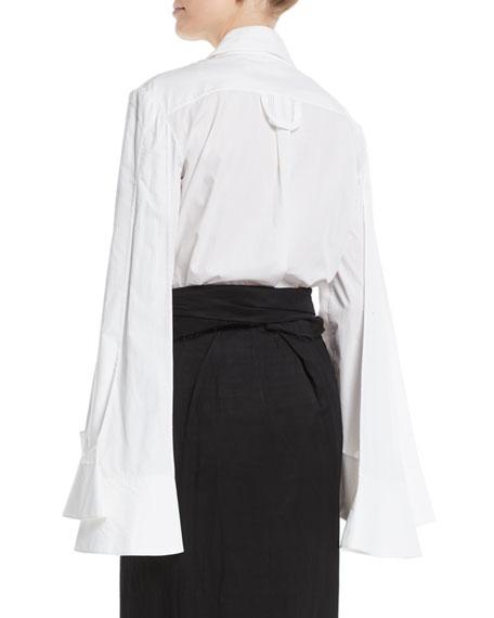 3-Sleeve Point-Collar Button-Down Cotton Shirt