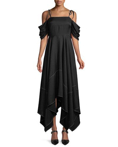 Audrey Cold-Shoulder Asymmetric Dress