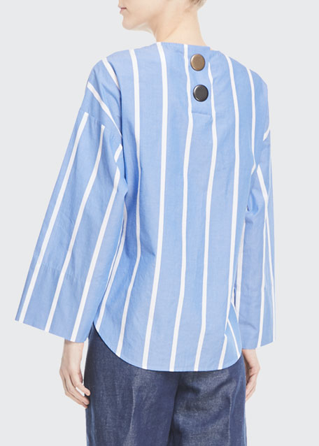 Brooke Crewneck Drawstring-Waist Striped Cotton Blouse