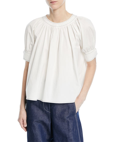 Hailey Crewneck Short-Sleeve Cotton Blouse
