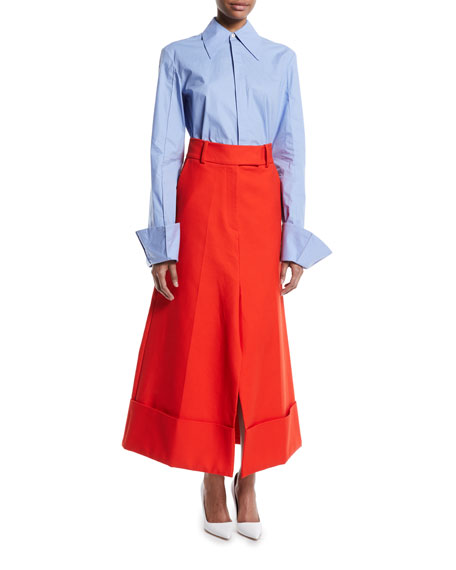 High-Waist Wide-Leg Cotton-Poplin Pant Skirt