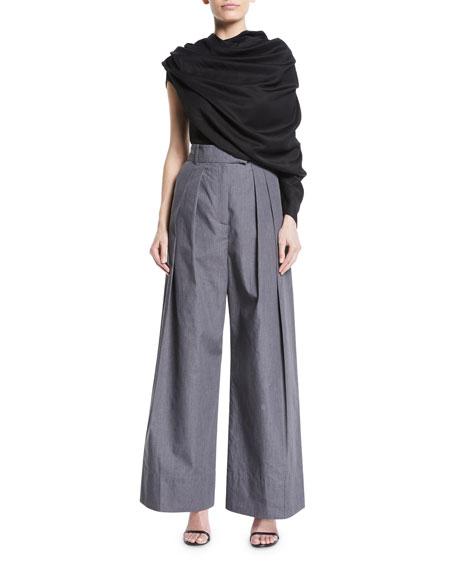Crispy High-Waist Wide-Leg Pleated Pants