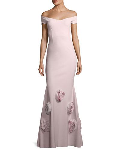 Lobelia Asymmetric Rose Mermaid Gown