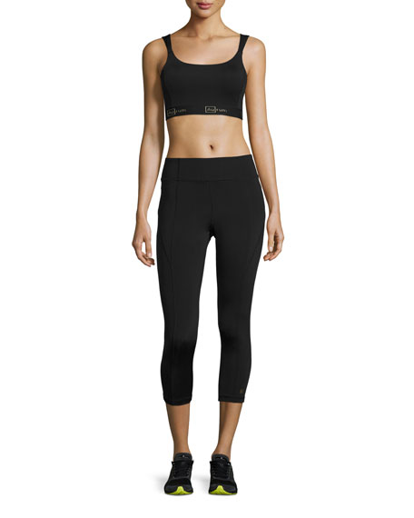 Paneled High-Rise Cropped Leggings, Black