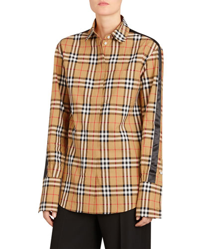 Saoirse Side-Stripe Check Shirt