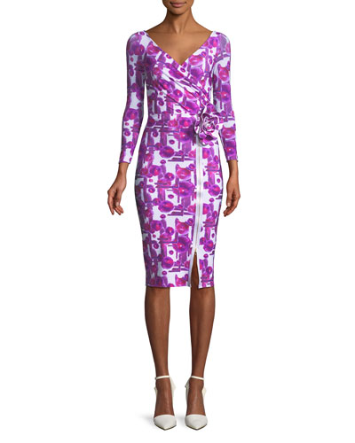 Anika Printed Cocktail Dress with 3D Flower