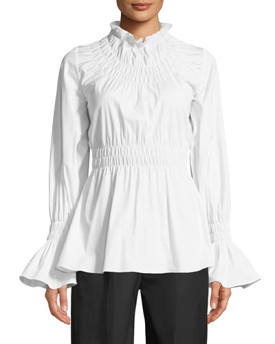 Galileo Smocked Long-Sleeve Cotton Shirting Blouse