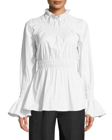 Beaufille Galileo Smocked Long-Sleeve Cotton Shirting Blouse