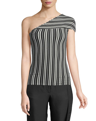 Mensa One-Shoulder Striped Rib-Knit Top