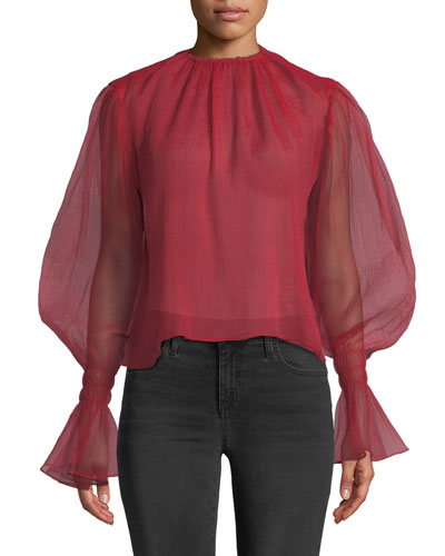 Camarina Balloon-Sleeve Textured Chiffon Blouse
