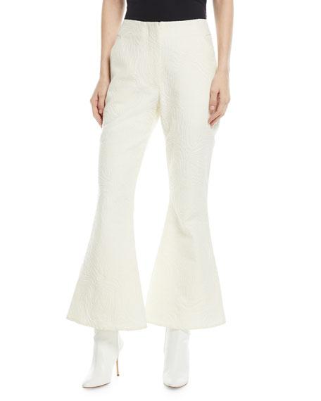 Zelus Swirl-Jacquard Flare Trousers
