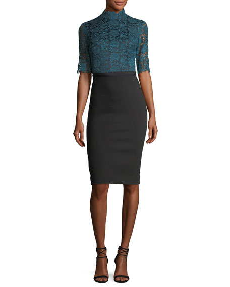 Half-Sleeve Lace & Crepe Cocktail Dress