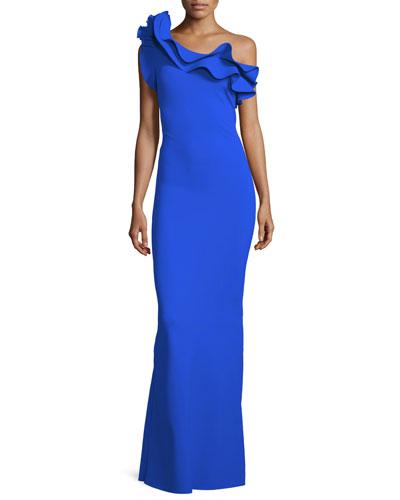 Elisir Ruffle One-Shoulder Gown
