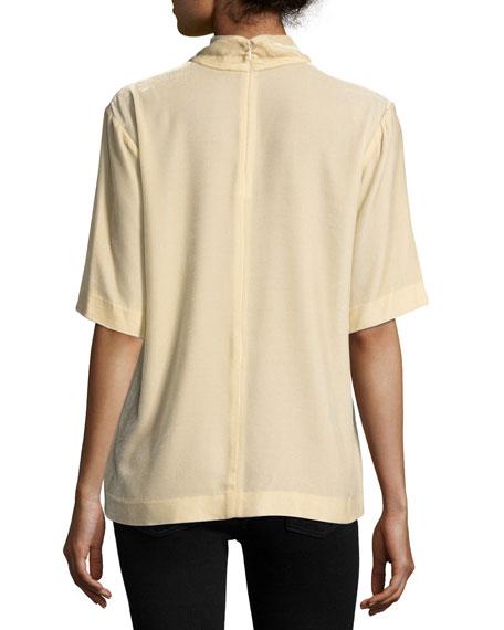 Split-Collar V-Neck Velvet Top