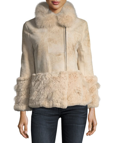 Paneled Shearling Crop Jacket w/ Fox & Rabbit Fur