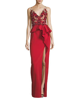 Beaded Stretch-Faille Column Gown