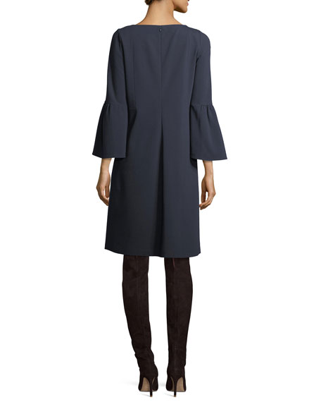 Marissa 3/4-Bell-Sleeve Punto Milano Dress