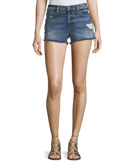 FRAME Le Cutoff Denim Shorts with Released Waistband