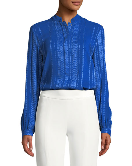ZEUS AND DIONE Signature Silk Jacquard Blouse in Blue