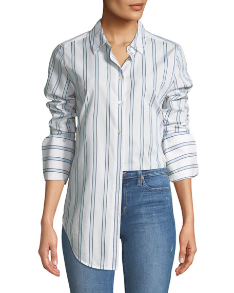 Essential Button-Front Striped Shirt with Neapolitan Cuff
