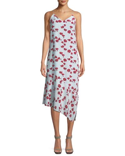 Jada V-Neck Sleeveless Floral-Print Slip Dress