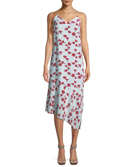 Jada V-Neck Sleeveless Floral-Print Slip Dress