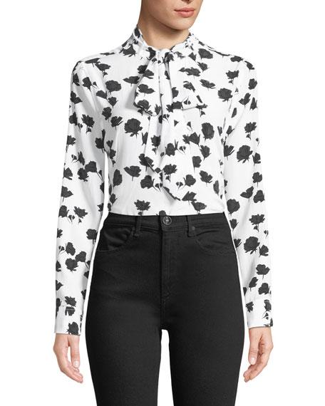 b22458ea8d86f4 Equipment Carleen Tie-Neck Floral-Print Silk Blouse