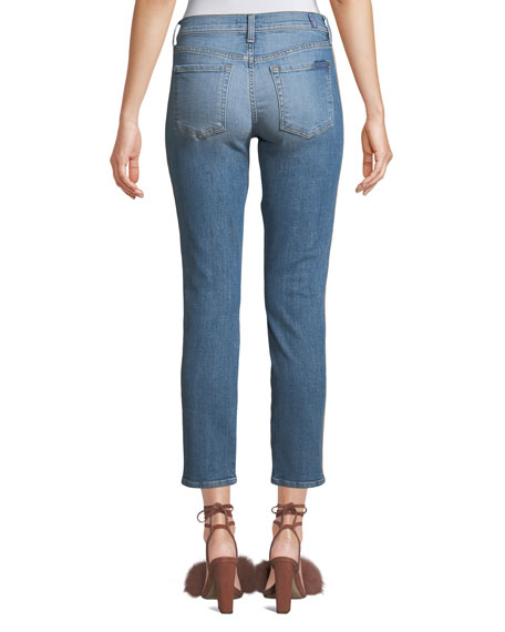 7551a4a4a5c793 7 For All Mankind Roxanne Straight-Leg Ankle Jeans with Faux-Leather ...