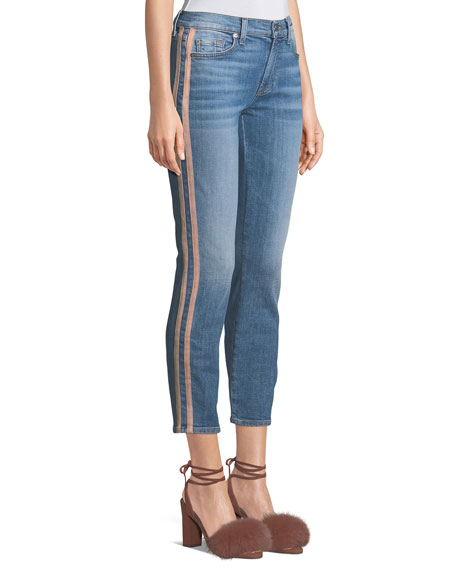 Roxanne Straight-Leg Ankle Jeans with Faux-Leather Stripes