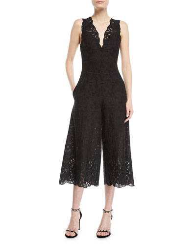 V-Neck Sleeveless Scallop Lace Wide-Leg Jumpsuit