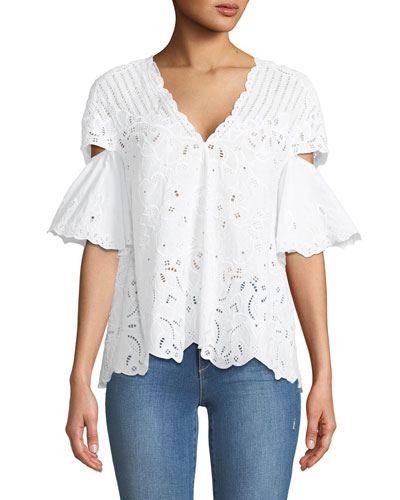 V-Neck Scallop Cutout Embroidery Top