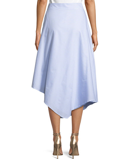 Wrapped Oxford Handkerchief Midi Skirt