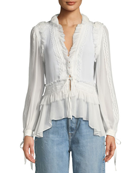 Mixed-Trim Long-Sleeve Silk Blouse
