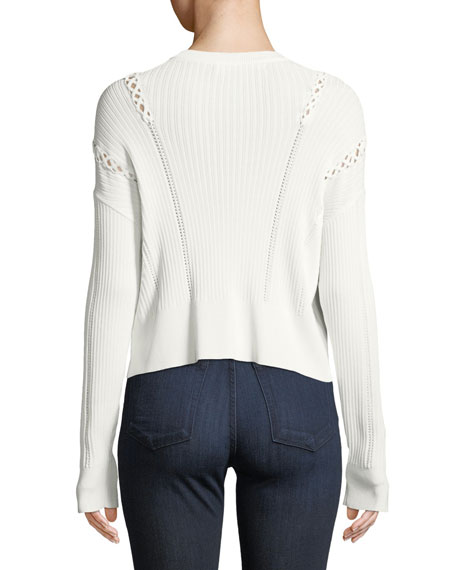 Linked Rib-Knit Long-Sleeve Sweater with Lace-Up