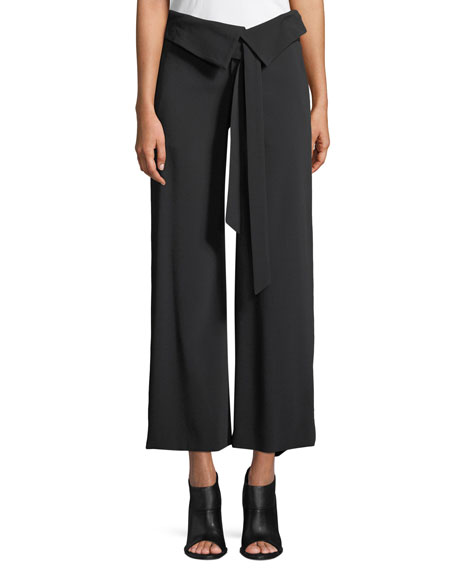Deconstructed Satin Crepe Wide-Leg Fold-Over Crop Pants